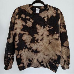 Black Bleached Tie Dye Crew Neck Sweatshirt